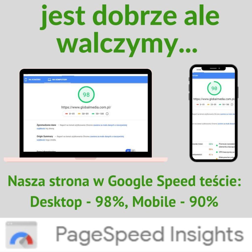 Wyniki w Google Speed Test - wszystko na zielono