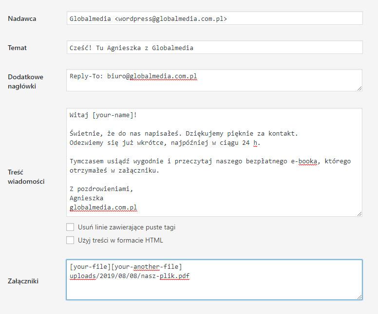 załącznik do maila - autoresponder